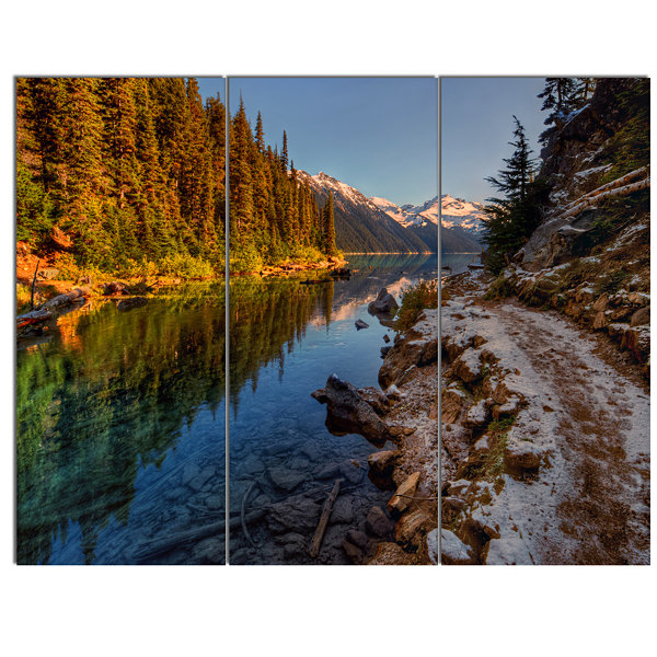 Designart Placid Lake Between Mountains LandscapeCanvas Art Print - 3 Panels