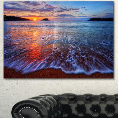 Designart Placid Shore And Whimsical Clouds Seashore Canvas Art Print