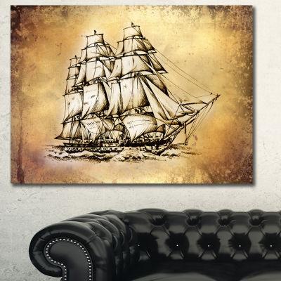 Designart Moving Old Sailboat Drawing Seashore Wall Art On Canvas