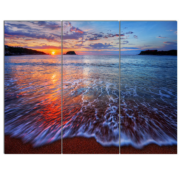 Designart Placid Shore And Whimsical Clouds Seashore Canvas Art Print - 3 Panels