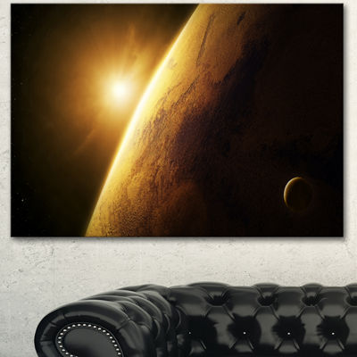 Designart Planet Mars Close Up With Sunrise LargeLandscape Canvas Art - 3 Panels