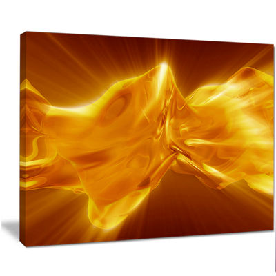 Designart Plasmas And Liquid With Fiery Shine Abstract Canvas Wall Art Print