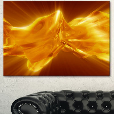 Designart Plasmas And Liquid With Fiery Shine Abstract Canvas Wall Art Print - 3 Panels