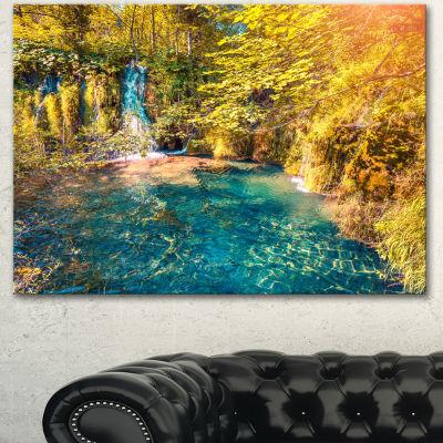 Designart Plitvice Lakes National Park Large Landscape Canvas Art Print - 3 Panels