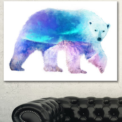 Designart Polar Bear Double Exposure IllustrationLarge Animal Canvas Art Print - 3 Panels