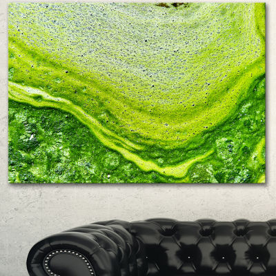 Design Art Polluted Water With Algae In Green LargeAbstract Canvas Artwork - 3 Panels
