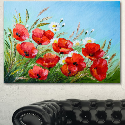 Designart Poppies In Field Against Blue Sky FloralCanvas Art Print