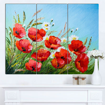 Designart Poppies In Field Against Blue Sky FloralCanvas Art Print - 3 Panels