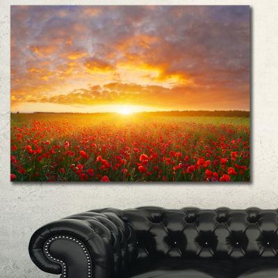 Designart Poppy Field Under Bright Sunset Landscape Canvas Art Print