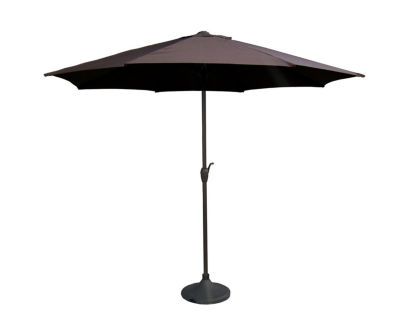 9' Outdoor Patio Market Umbrella with Hand Crank and Tilt - Brown and Black