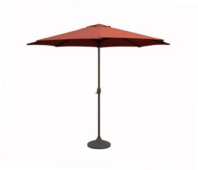 9' Outdoor Patio Market Umbrella with Hand Crank and Tilt - Terra Cotta & Brown
