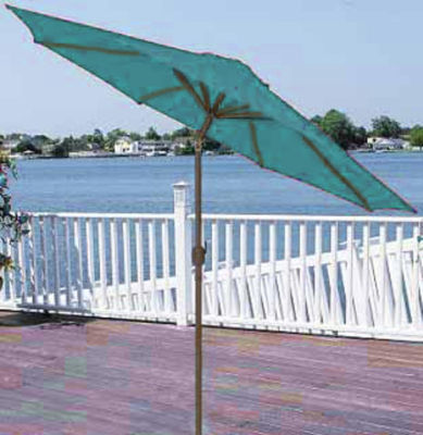 9' Outdoor Patio Market Umbrella with Hand Crank and Tilt - Turquoise Teal