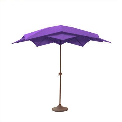 8.2' Outdoor Patio Lotus Umbrella with Hand Crank - Purple