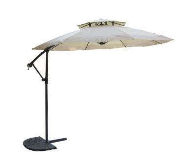 10' Off-Set 2-Tier Outdoor Patio Umbrella with Hand Crank - Beige