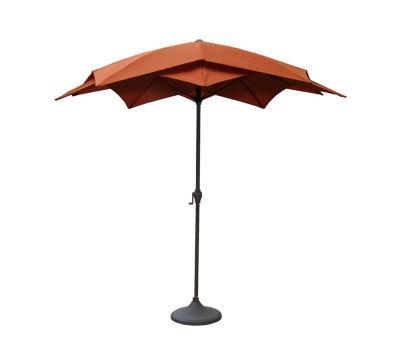 8.2' Outdoor Patio Lotus Umbrella with Hand Crank - Terracotta