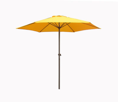 7.5' Outdoor Patio Market Umbrella with Hand Crank - Yellow
