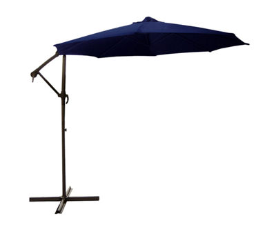 10' Off-Set Outdoor Patio Umbrella with Hand Crank - Navy Blue