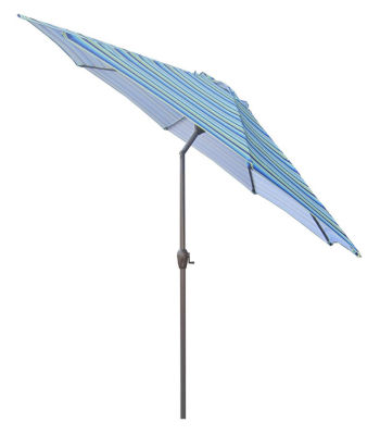 9' Outdoor Patio Market Umbrella with Hand Crank and Tilt - Blue Stripe