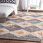 nuLoom Hand Braided Marla Denim And Jute DiamondsRug