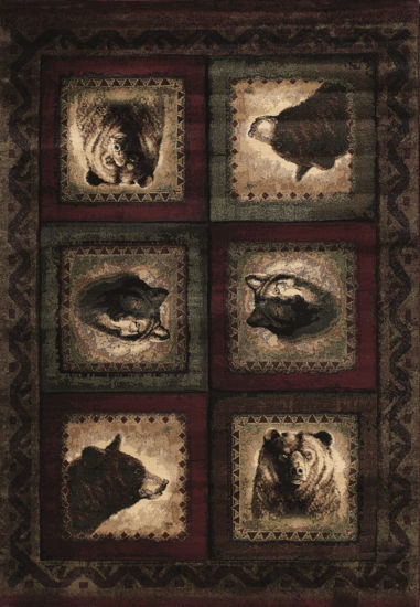 United Weavers Contours John Q Collection Bears &Wolf Rectangular Rug