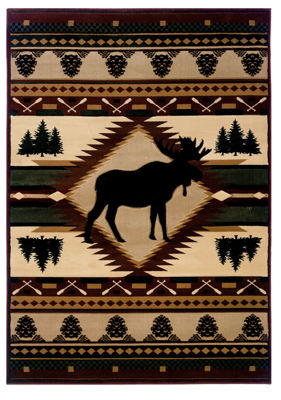 United Weavers Contours John Q Collection Moose Wilderness Rectangular Rug