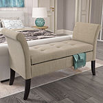 Antonio With Scrolled Arms Linen Bench