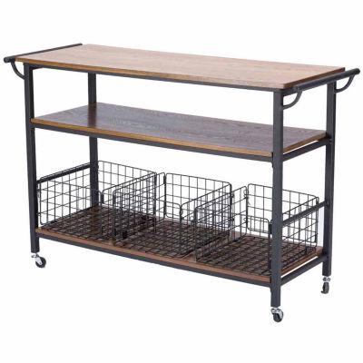 Baxton Studio Lancashire Wood-Top Kitchen Cart