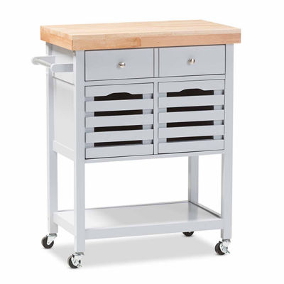 Baxton Studio Jaden Wood-Top Kitchen Cart