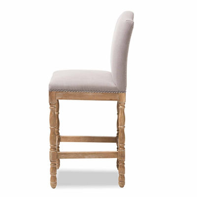Baxton Studio Paige French Vintage Cottage Upholstered Bar Stool