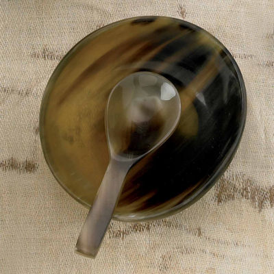 St. Croix Trading Kindwer Natural Horn Bowl with Horn Spoon