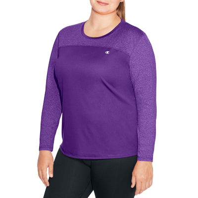 Champion Long Sleeve Crew Neck T-Shirt-Womens Plus