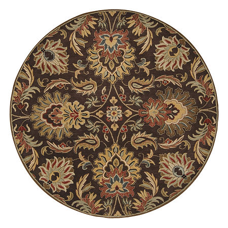 Decor 140 Vitrolles Hand Tufted Round Indoor Rugs, One Size , Brown