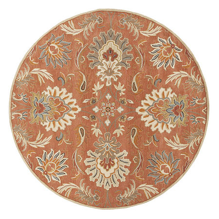 Decor 140 Vitrolles Hand Tufted Round Indoor Rugs, One Size , Orange