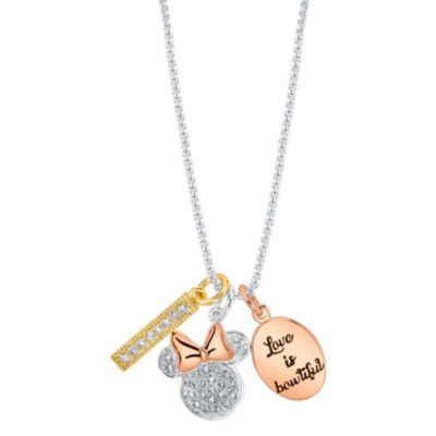 Disney Womens Crystal Pure Silver Over Brass Minnie Mouse Pendant Necklace
