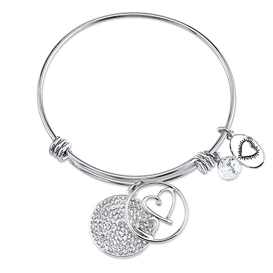 Footnotes Always My Mother Forever My Friend Clear Silver Tone Pure Silver Over Brass Round Bangle Bracelet