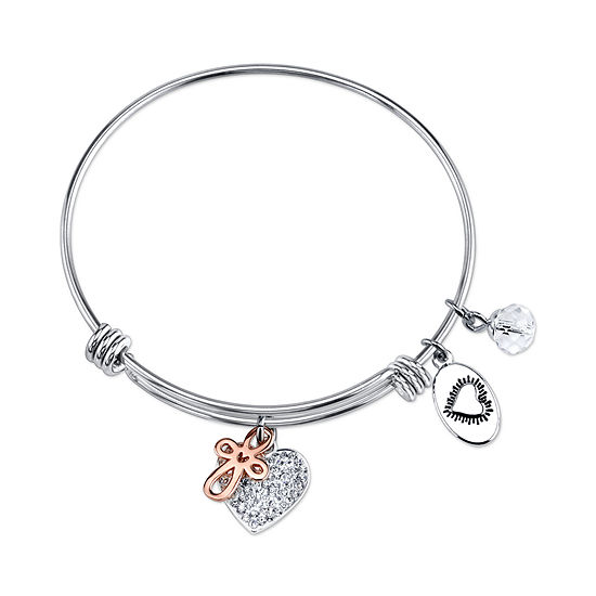 Footnotes Faith Hope Love Clear Pure Silver Over Brass Round Bangle Bracelet