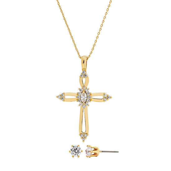 Sparkle Allure Holiday Light Up Box 3-pc. Cubic Zirconia 14K Gold Over Brass Cross Jewelry Set