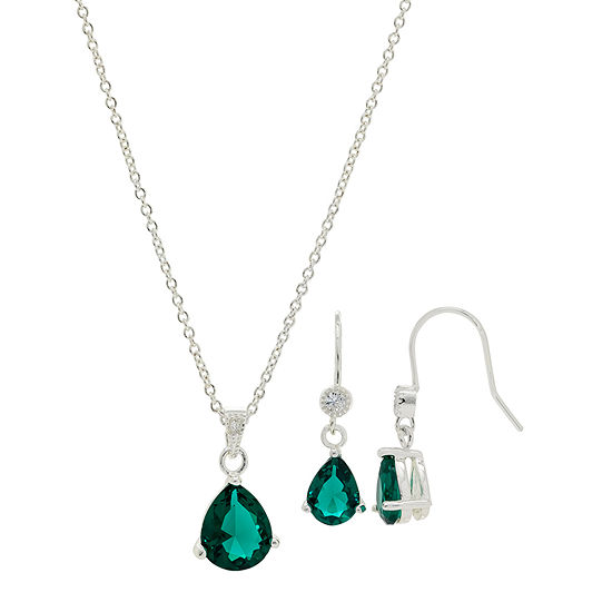 Sparkle Allure Holiday Light Up Box 2-pc. Cubic Zirconia Pure Silver Over Brass Emerald Pear Jewelry Set