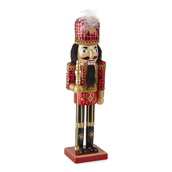 "North Pole Trading Co. 14"" Red Sequin Christmas Nutcracker"
