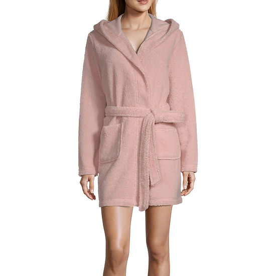 Ambrielle Womens Fleece Robe Long Sleeve Short Length