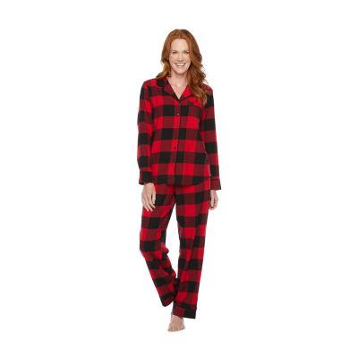 North Pole Trading Co. Buffalo Plaid Long Sleeve Womens-Petite Pant Pajama Set 2-pc.