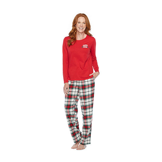North Pole Trading Co. Plaid Womens-Petite Long Sleeve Pant Pajama Set 2-pc.