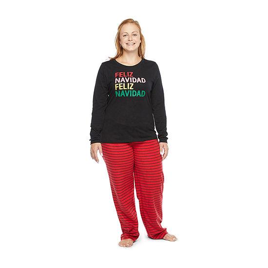 North Pole Trading Co. Feliz Navidad Long Sleeve Womens-Petite Pant Pajama Set 2-pc.