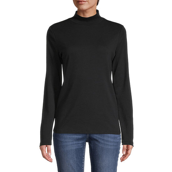 St. John's Bay Womens Long Sleeve Mock Neck Top-Tall