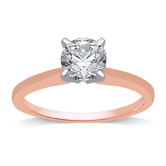 Womens 1 CT. T.W. Genuine White Diamond 10K Rose Gold Round Solitaire Engagement Ring