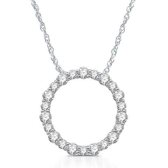 Womens 1 CT. T.W. Genuine White Diamond Sterling Silver Pendant Necklace