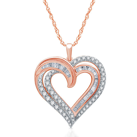 Womens 1 CT. T.W. Genuine Diamond 14K Rose Gold Over Silver Heart Pendant Necklace