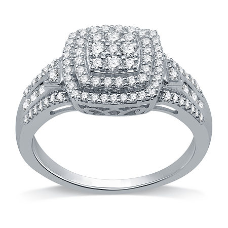 Womens 1/2 CT. T.W. Genuine Diamond Sterling Silver Cocktail Ring, 7