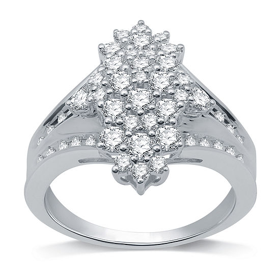 Womens 1 CT. T.W. Genuine White Diamond Sterling Silver Cluster Cocktail Ring