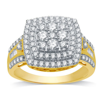 Womens 1 CT. T.W. Genuine White Diamond 14K Gold Over Silver Cocktail Ring